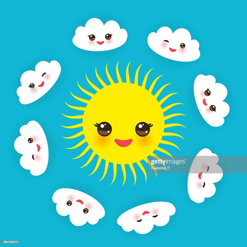 Kawaii funny yellow sun, white clouds set, muzzle with pink cheeks and winking eyes on blue background. Vector
