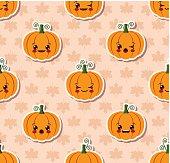 Kawaii Halloween seamless pattern