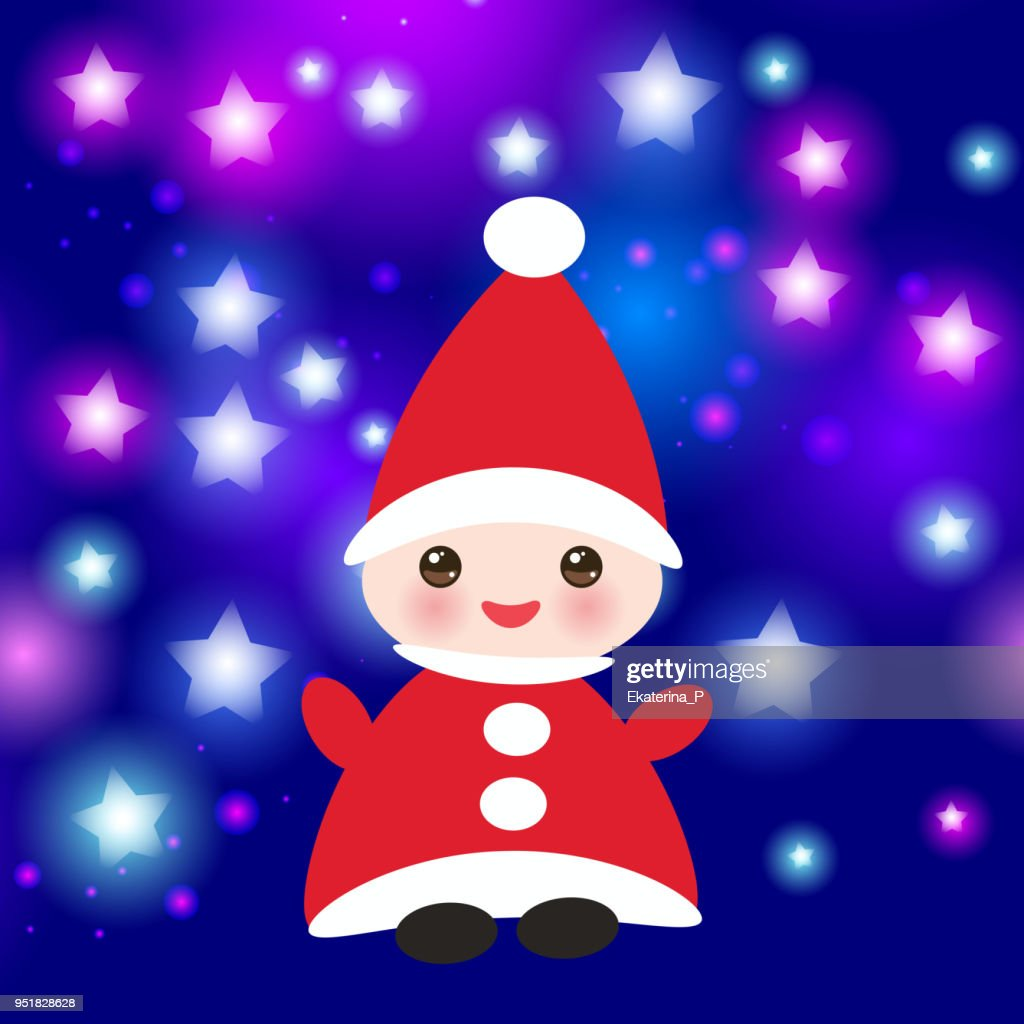 Kawaii Happy New Year Card Funny Gnome In Red Hats On Blue