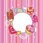 Kawaii heart frame with sweets and candies. Crazy sweet-stuff