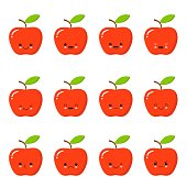 Kawaii red apple. Cute emoticon face on a white background. Emoticon icon.