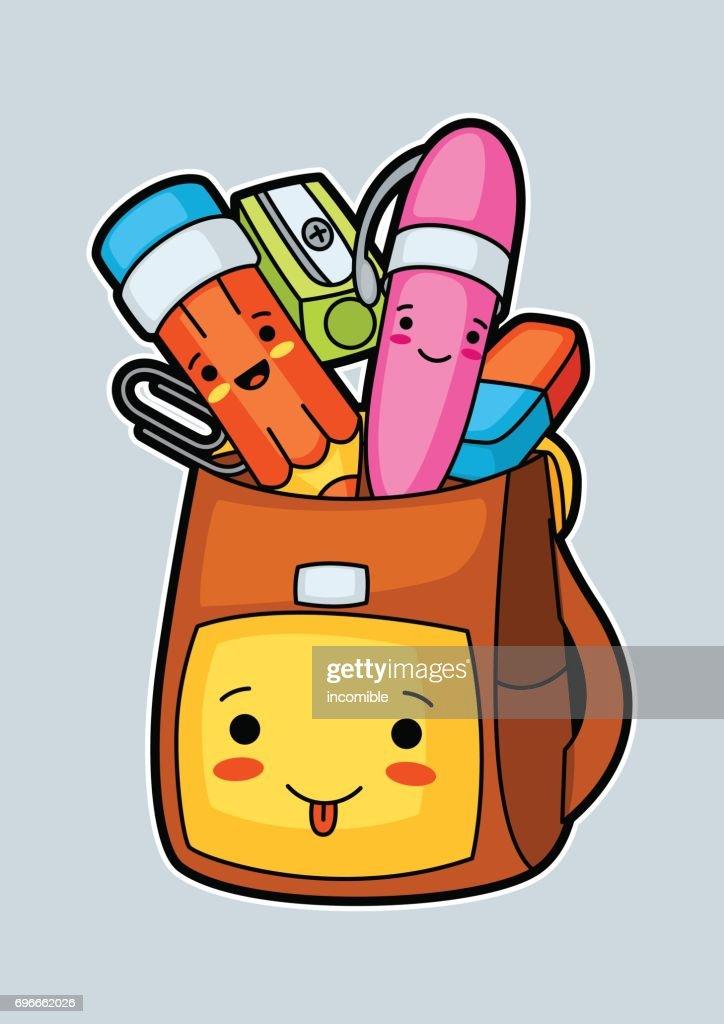 Kawaii school backpack with cute education supplies