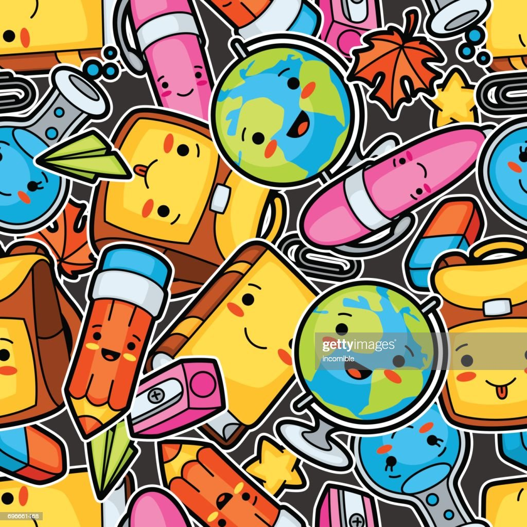Kawaii school seamless pattern with cute education supplies