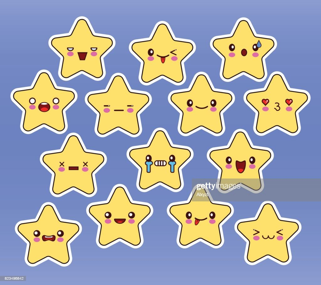 Kawaii stars set, face with eyes, yellow color on blue background.