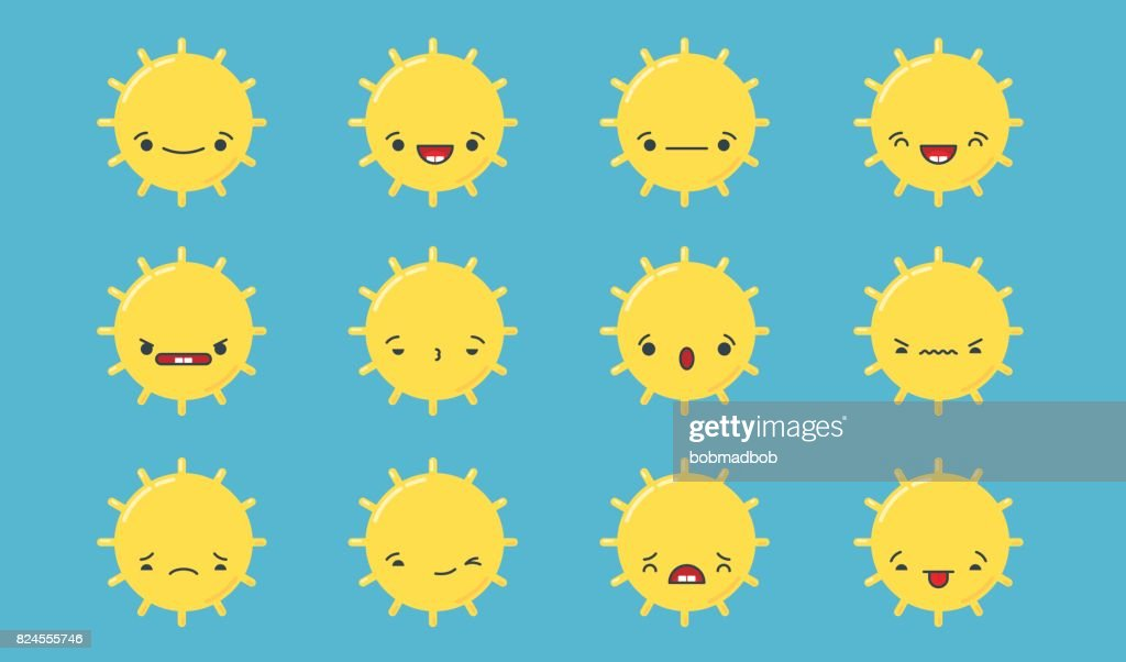 Kawaii Sun Emoji Set Stock Illustration - Getty Images