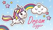 Kawaii Unicorn Rainbow Dream Bigger Flat Sticker