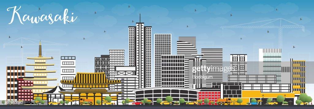 Kawasaki Japan City Skyline with Color Buildings and Blue Sky.