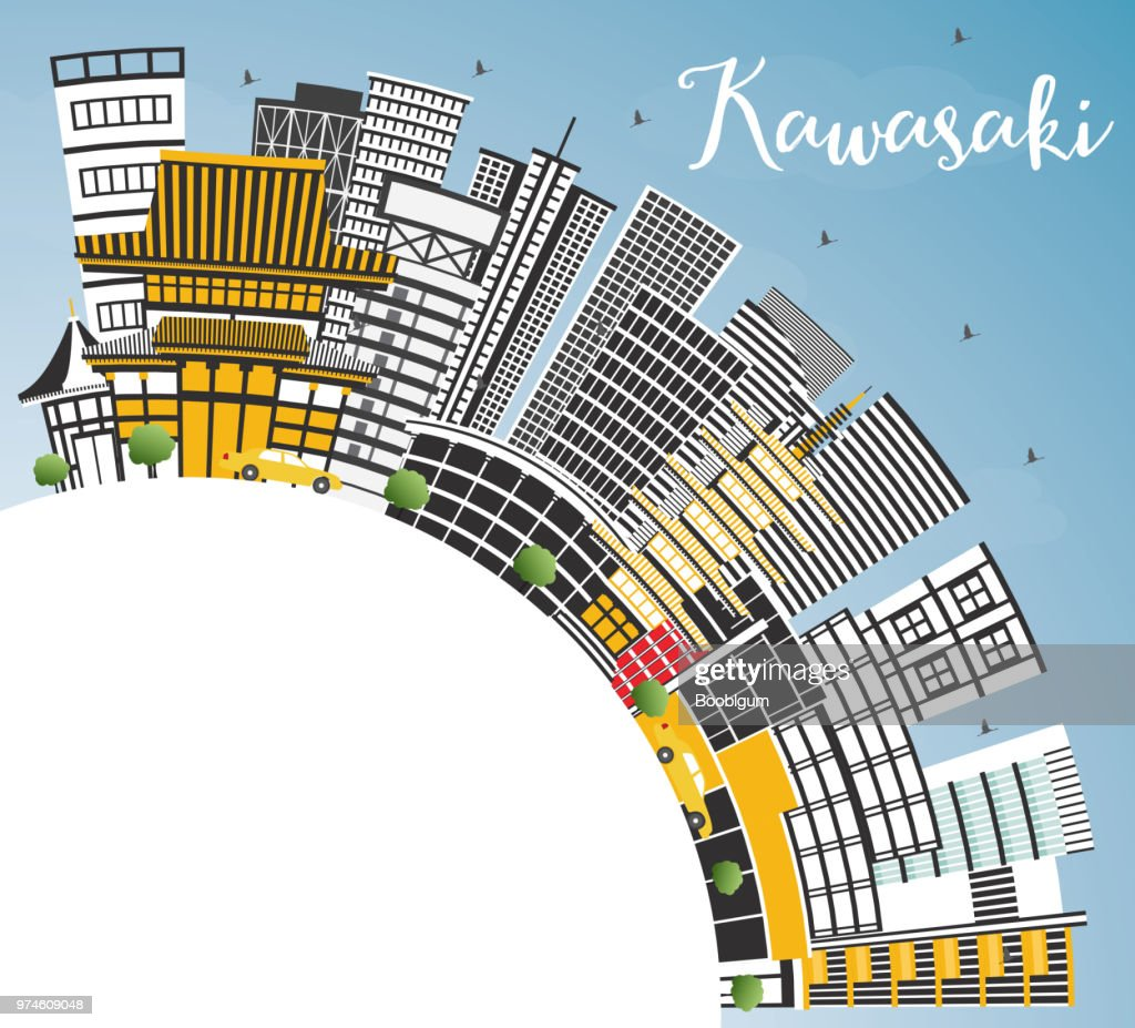 Kawasaki Japan City Skyline with Color Buildings, Blue Sky and Copy Space.