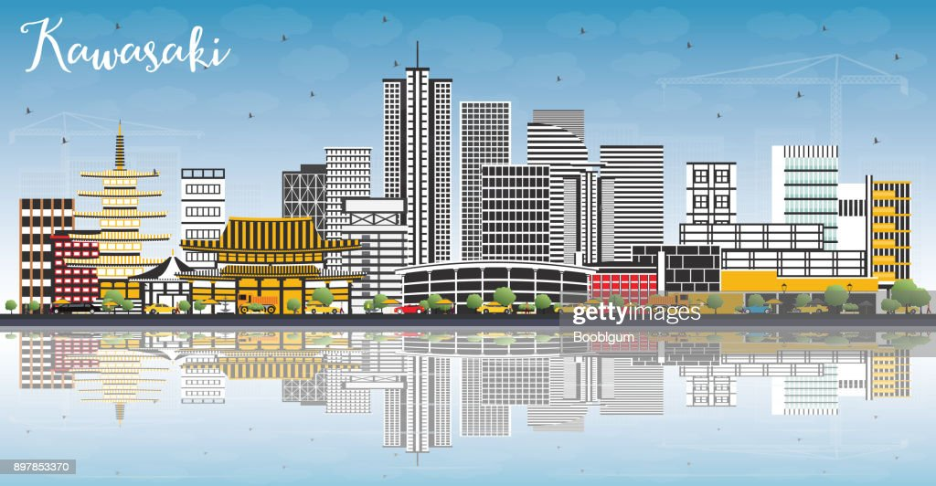 Kawasaki Japan City Skyline with Color Buildings, Blue Sky and Reflections.