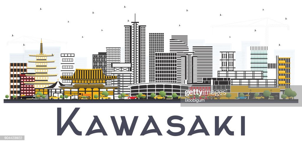 Kawasaki Japan City Skyline with Color Buildings Isolated on White Background.