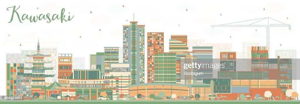 Kawasaki Japan City Skyline with Color Buildings.
