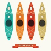 Kayak Boats Vector Colorful Icons