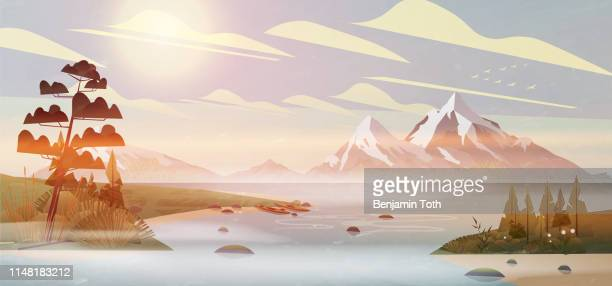 kayak by the lake, pine forest in mountains - mountain logo stock illustrations
