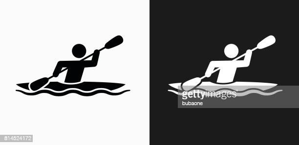 Kayak Icon on Black and White Vector Backgrounds