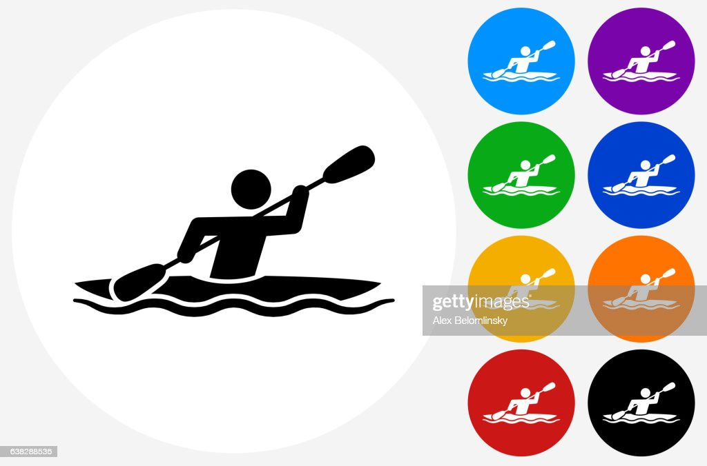 Kayak Icon on Flat Color Circle Buttons