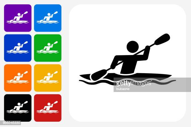 Kayak Icon Square Button Set
