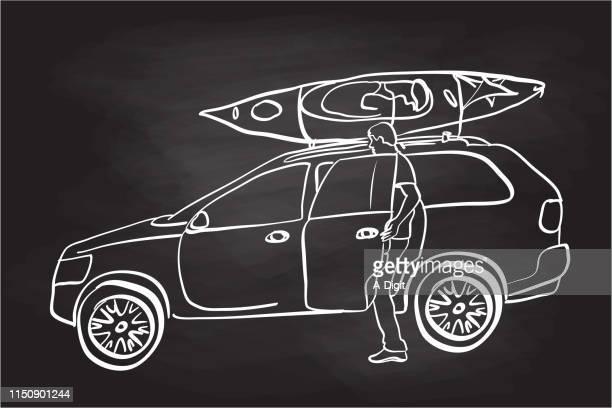 Kayak On The Car Chalkboard