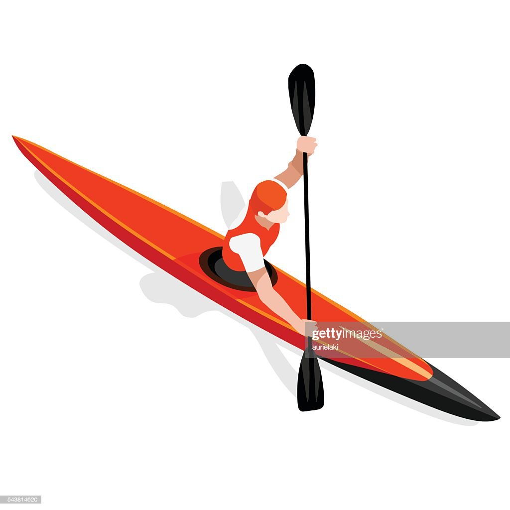 Kayak Sprint  Sports Isometric 3D Vector Illustration
