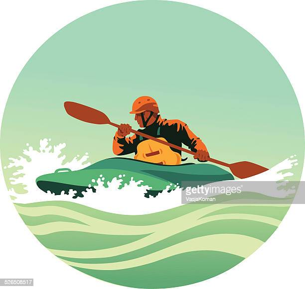 kayaker paddling powerfully through white waters - rapid stock illustrations
