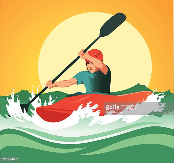 kayaker paddling through dangerous white waters - rapid stock illustrations