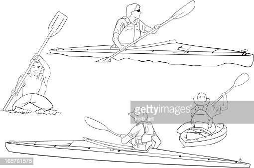 Kayaking Line Drawings Vector Art