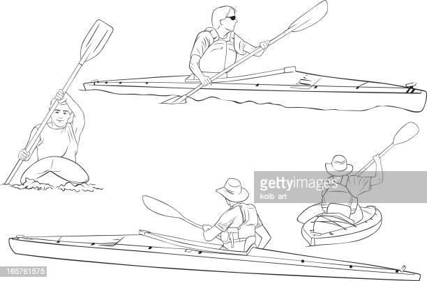 kayaking line drawings - kayak stock illustrations