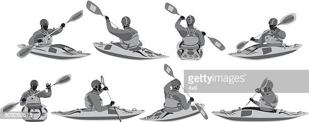 kayaking - kayak stock illustrations
