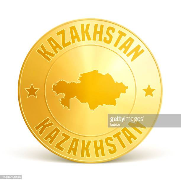 kazakhstan - gold coin on white background - white gold stock illustrations