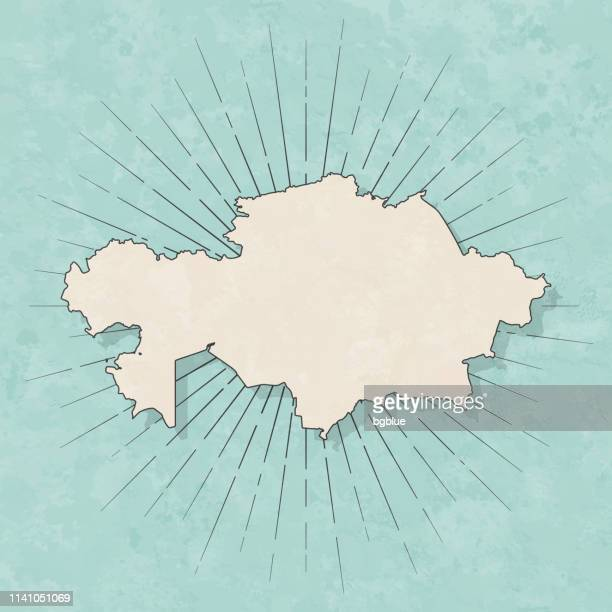 kazakhstan map in retro vintage style - old textured paper - kazakhstan stock illustrations