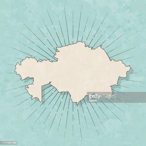 カザフスタンの地図レトロヴィンテージスタイル-古いテクスチャー紙 - カザフスタン点のイラスト素材/クリップアート素材/マンガ素材/アイコン素材