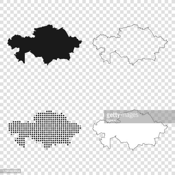 kazakhstan maps for design - black, outline, mosaic and white - kazakhstan stock illustrations