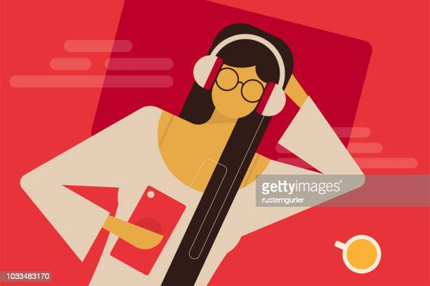 keep calm and let the music play on - headphones stock illustrations
