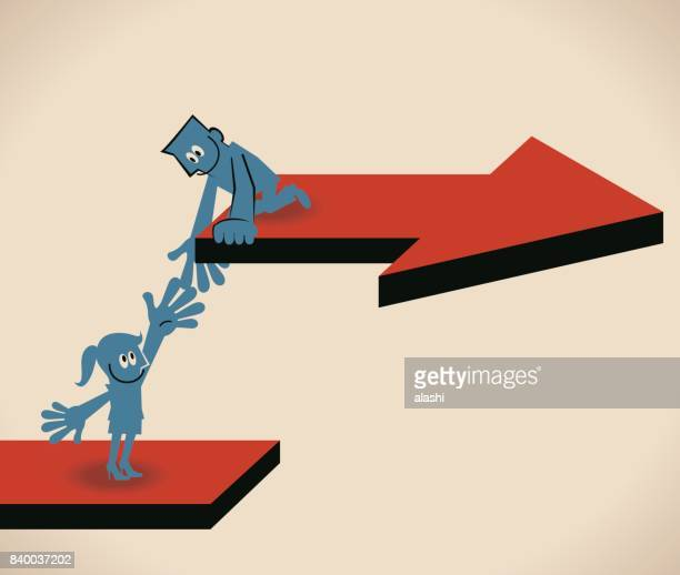 Keep growing and Help each other. Businessman holding businesswoman's hand to go up a higher level (arrow board), way to success