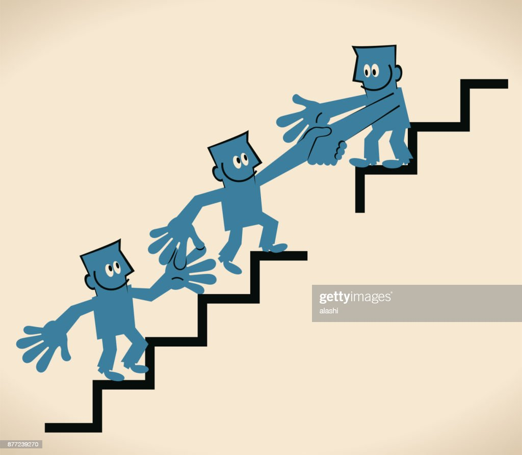 Helping Each Other: Keep Growing And Help Each Other One Businessman Holding