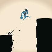 Keep growing, business woman jumping off cliff (abyss) for higher level