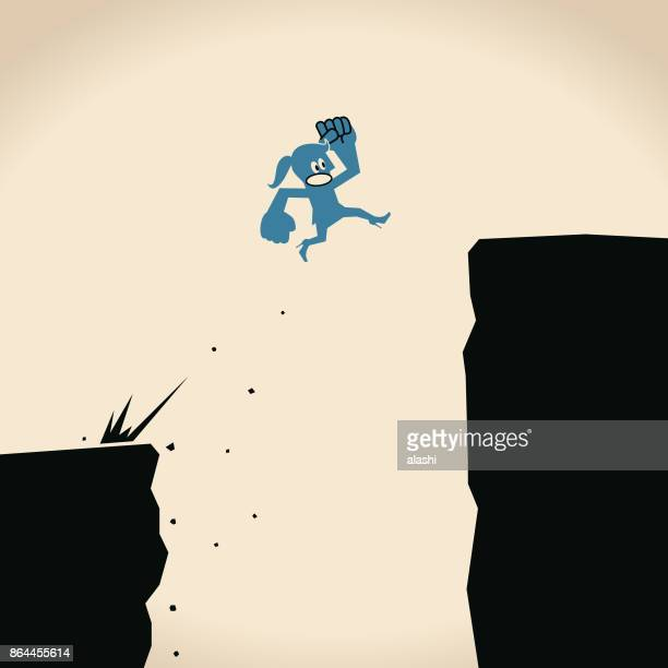keep growing, business woman jumping off cliff (abyss) for higher level - crag stock illustrations, clip art, cartoons, & icons
