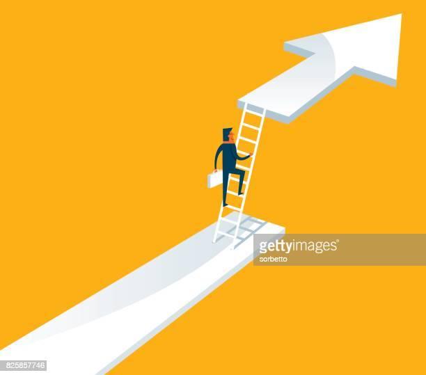 keep growing - businessman - ladder stock illustrations, clip art, cartoons, & icons