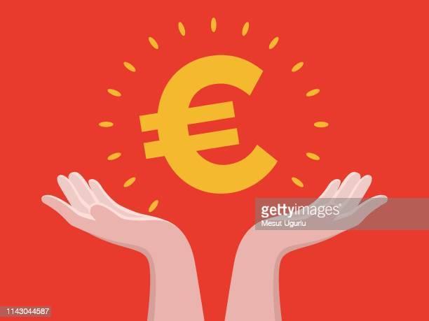 ilustrações, clipart, desenhos animados e ícones de mantenha na mão euro - bônus