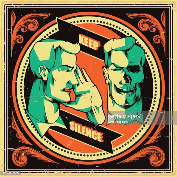 ilustrações, clipart, desenhos animados e ícones de mantenha o pôster do silêncio, seja símbolo silencioso - antiga união soviética