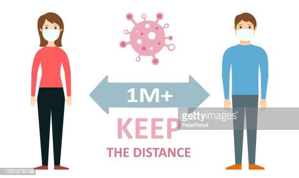 距離を保つ - 社会的距離コロナウイルスcovid-19コンセプトベクトルフラットイラスト - 離れた点のイラスト素材/クリップアート素材/マンガ素材/アイコン素材