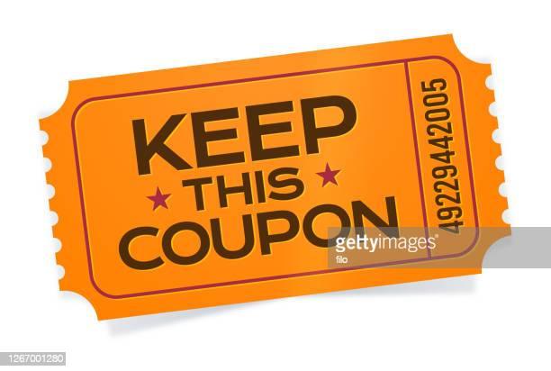 ilustraciones, imágenes clip art, dibujos animados e iconos de stock de guarde este billete de cupón - patrocinador