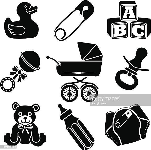 keeping baby happy icons - baby carriage stock illustrations