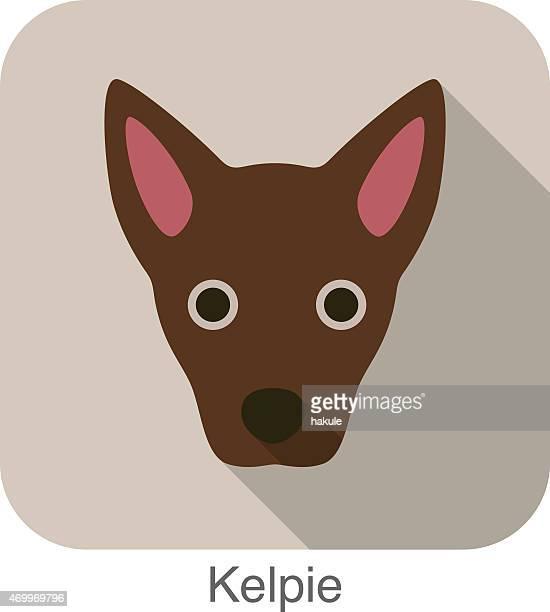 Kelpie dog face portrait flat icon design