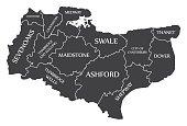 Kent county England UK black map with white labels illustration