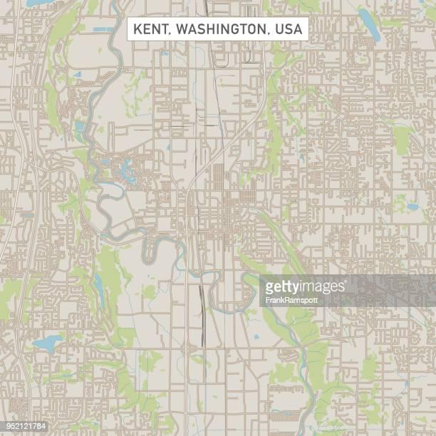 kent washington us city street map - kent washington state stock illustrations