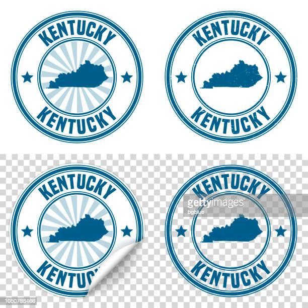 ilustraciones, imágenes clip art, dibujos animados e iconos de stock de kentucky - etiqueta engomada azul y sello con nombre y mapa - kentucky