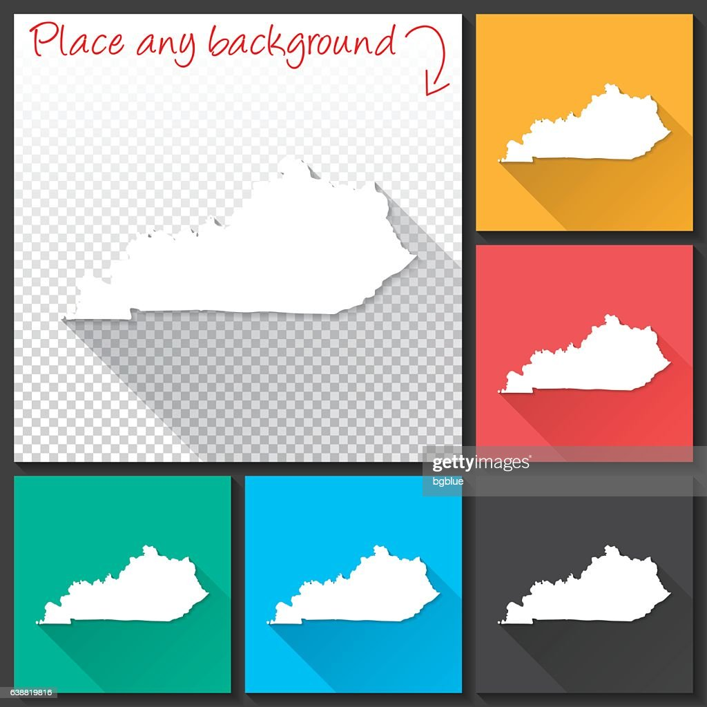 Kentucky Map for design, Long Shadow, Flat Design