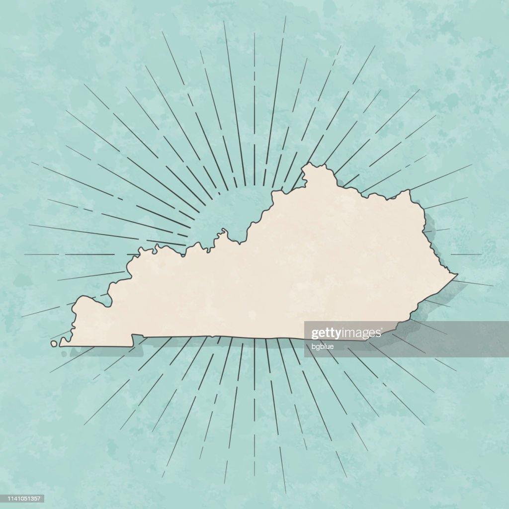 ケンタッキー州の地図レトロヴィンテージスタイル-古いテクスチャー紙 : ストックイラストレーション