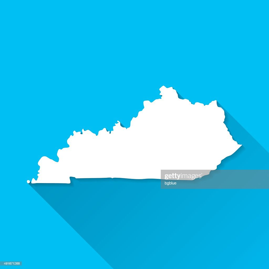 Kentucky Map on Blue Background, Long Shadow, Flat Design
