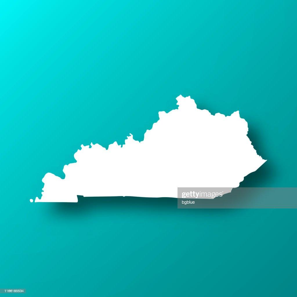 影を持つブルーグリーンの背景にケンタッキーマップ : ストックイラストレーション